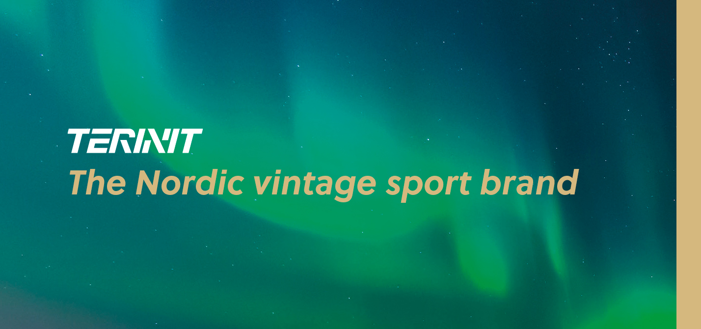 Terinit – The Nordic vintage sport brand. Northern lights on the background.
